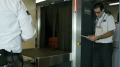 X-ray security scanner airport Stock Footage