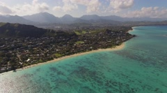 Aerial Oahu Lanikai Beach - stock footage