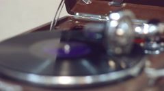 Old portable gramophone playing Stock Footage