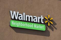Walmart Neighborhood Market Sign and Logo - stock photo