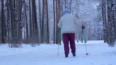 Woman skiing in winter Park Stock Footage