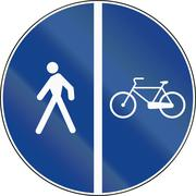 Road sign used in Italy - bike lane along the side of the sidewalk - stock illustration