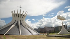 Cathedral in brasilia city Stock Footage