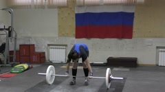 Weightlifting competing girls - stock footage