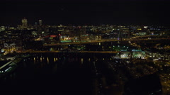 Approaching Charlestown Bridge in Boston at night. Shot in November 2011. Stock Footage