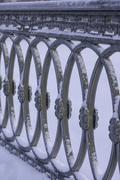 cast iron grill, Saint-Petersburg, Russia, winter photo - stock photo
