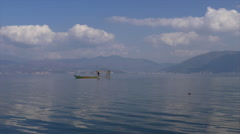 Fisherman fishing on the Erhai lake in traditional way Stock Footage