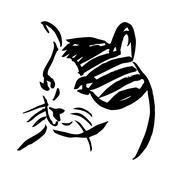 Freehand sketch illustration of cat, kitten Piirros