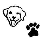 freehand sketch illustration of dog, animal footprint - stock illustration