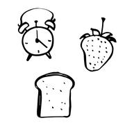 Freehand sketch illustration of alarm clock, bread and strawberry Stock Illustration