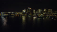Downtown Boston from the Charles River at night. Shot in November 2011. Stock Footage