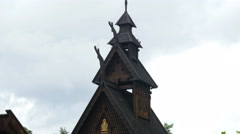 OSLO - NORWAY, AUGUST 2015: people at historical stave church Stock Footage