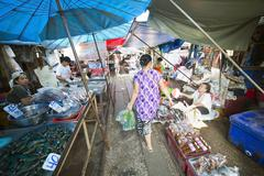 KANCHANABURI, THAILAND - FEBRUARY 2014: Train passing through folding umbrell Stock Photos