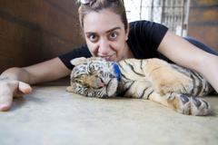 People with tiger temple, Bangkok, Thailand - stock photo