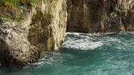 Stock Video Footage of Amalfi Coastl Waves Cliffs Italy 4K Stock Video Footage