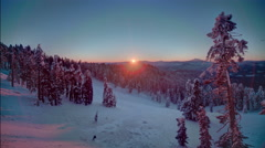 Beautiful high altitude dawn time lapse, sunrise in HDR, Winter Snow Landscape Stock Footage