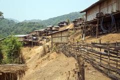 Indigenous tribal culture of Akha tribe village, Pongsali, Laos Kuvituskuvat