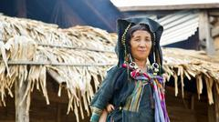 PONGSALI, LAOS - APRIL 2014: indigenous tribal Akha Village - stock photo