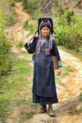 PONGSALI, LAOS - APRIL 2014: indigenous tribal Akha Village - stock photo