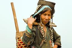 Stock Photo of PONGSALI, LAOS - APRIL 2014: indigenous tribal Akha Village