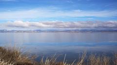 Right pan of Tule Lake, California Stock Footage