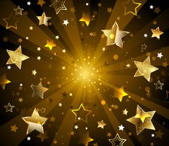 Stock Illustration of Dark radiant background with golden stars