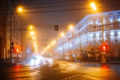 Speed Traffic Lights Trails On Lenin Avenue In Gomel, Belarus. S - stock photo