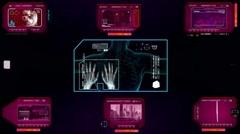 Hands Analyzed by program -pink 01 Stock Footage