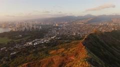 Aerial Oahu Diamond Head Honolulu. Hawaii Stock Footage