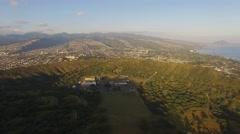 Aerial Oahu Diamond Head State Monument Stock Footage