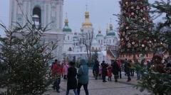 People Are Celebrating Christmas at Sophia Square Taking Photo Walking Animator - stock footage