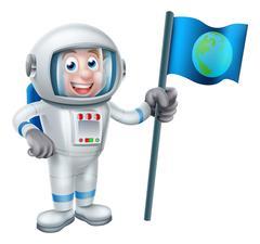 Cartoon Astronaut Holding Flag - stock illustration