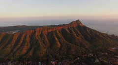 Aerial Oahu Diamond Head State Monument. Sunset Stock Footage