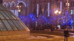 People at Fontain Independence Square Christmas in Kiev Woman is Walking - stock footage
