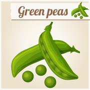Green peas. Detailed Vector Icon - stock illustration