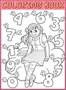 Schoolgirl and flying numbers - stock illustration