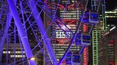 Hong Kong observation wheel, and HSBC building, Hong Kong, China. Stock Footage