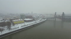Aerial Oregon Portland Snowy Stock Footage
