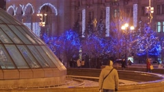 People at Independence Square Kiev Christmas Eve Crowd of People Families Have - stock footage
