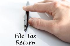 File tax return text concept Stock Photos
