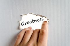 Greatness text concept Stock Photos