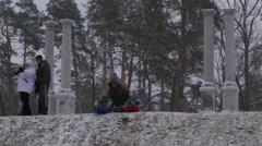 Father Son Rides Sleigh Bucha Ukraine Christmas Dad Lets His Son Ride Sleigh - stock footage