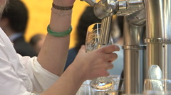 Belgian beer taps lady Stock Footage