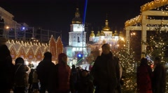 People Are Walking Taking Professional Photo Christmas Fair Sophia Cathedral - stock footage