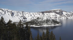 Crater Lake: Wizard's Island and Llao rock - stock footage