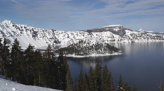 Crater Lake: Wizard's Island and Crater Rim Stock Footage