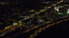Over Massachusetts Turnpike in Boston at night. Shot in November 2011. Stock Footage