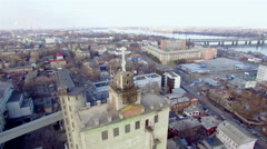 Aerial view of the Holy cross on the top of the building - stock footage
