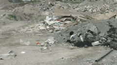 Panorama view of neglected landfill site. Tones of waste contaminating nature Stock Footage