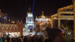 People Walking at Christmas Fair Kiev Sophia Square Sophia Cathedral New Year's - stock footage